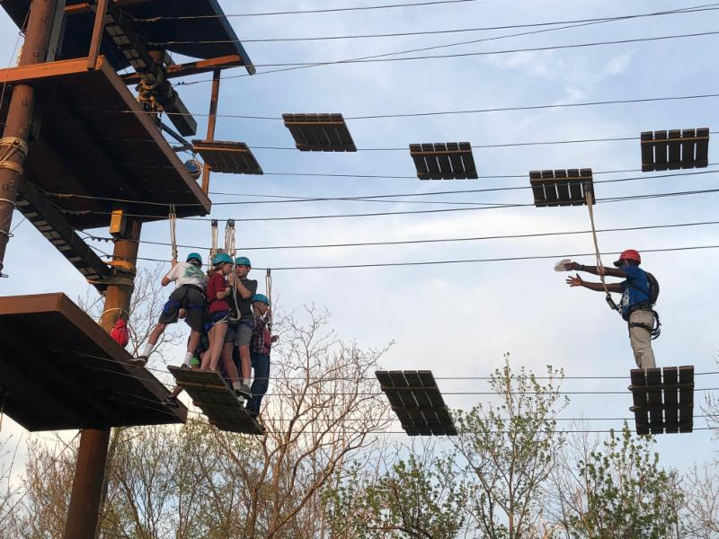 Confirmation class on high ropes course