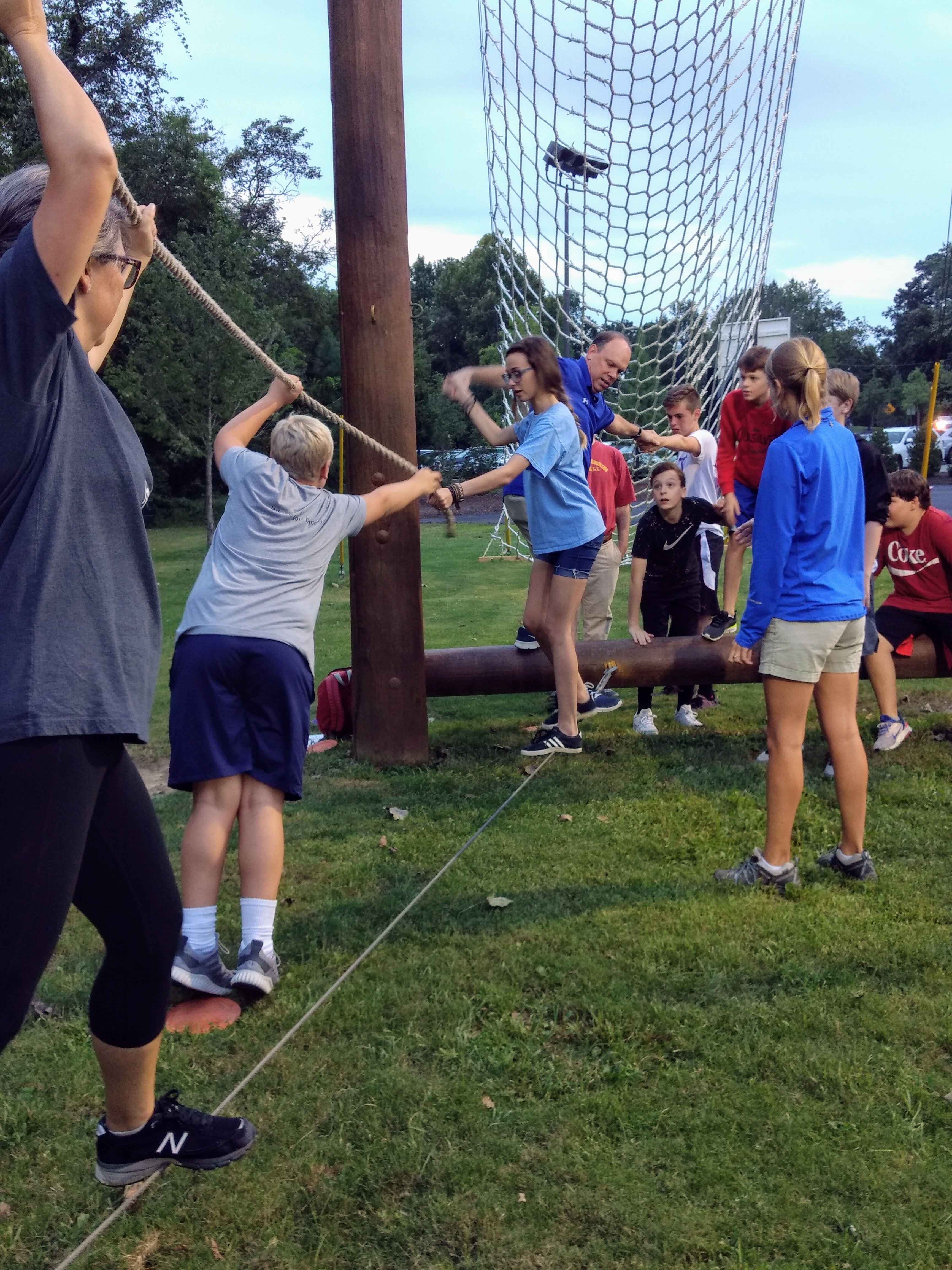 Confirmation class on low ropes course